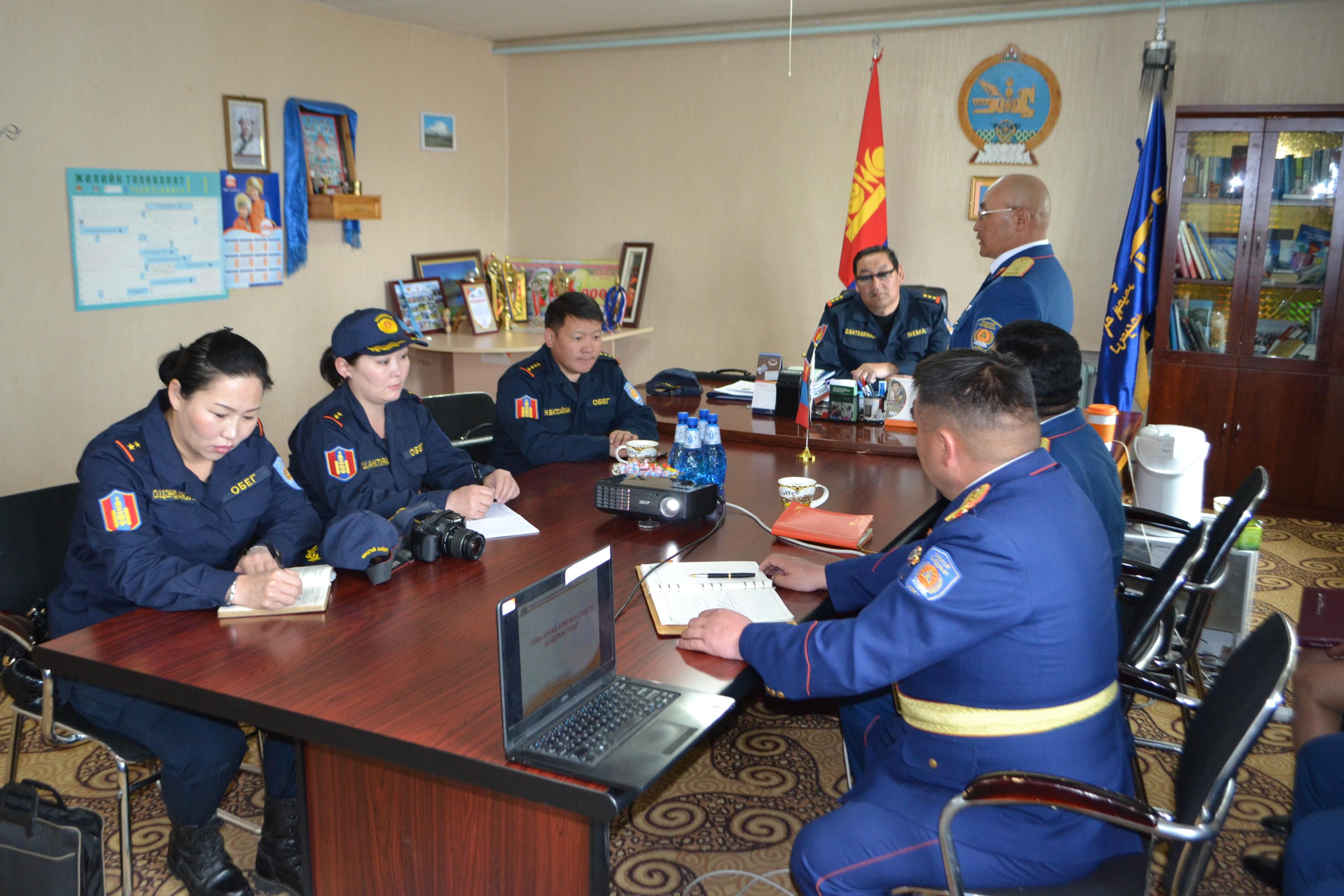 ОБЕГ-ын Гамшгаас урьдчилан сэргийлэх газрын дарга хурандаа Д.Батсайханаар ахлуулсан ажлын хэсэг Говь-Алтай аймгийн Онцгой байдлын газарт ажиллалаа.